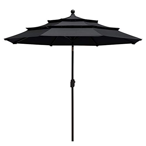 EliteShade Sunbrella 9Ft 3 Tiers Market Umbrella Patio Outdoor Table Umbrella with Ventilation and 5 Years Non-Fading Top,Black