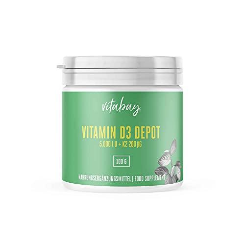 Vitabay Vitamin D3 5000 IE + Vitamin K2 MK-7 200 mcg • 100 g veganes Pulver • Cis-Anteil 0% • 365 Portionen