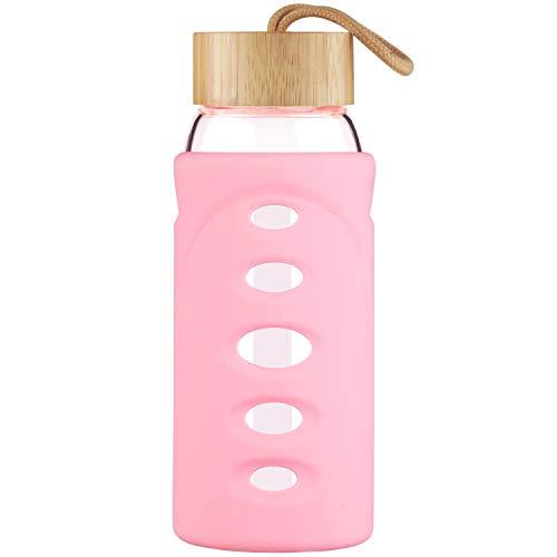 Justfwater Botella de Agua de Borosilicato de 750ml, Botella de Agua de Vidrio con Funda de Silicona y Tapa de Bambú