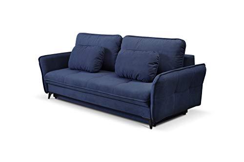 MOEBLO Sofa mit Schlaffunktion und Bettkasten, Couch für Wohnzimmer, Schlafsofa Federkern Sofagarnitur Polstersofa Wohnlandschaft mit Bettfunktion - Lazar (Dunkelblau)