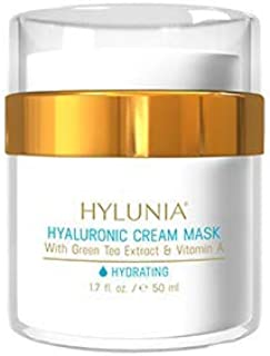 Hylunia Hyaluronic Cream Mask - 1.7 fl oz - Anti-Aging for Wrinkles - with Hyaluronic Acid Serum, Witch Hazel, Retinol, Zinc - Natural Vegan Moisturizer - Rapid Skin Repair