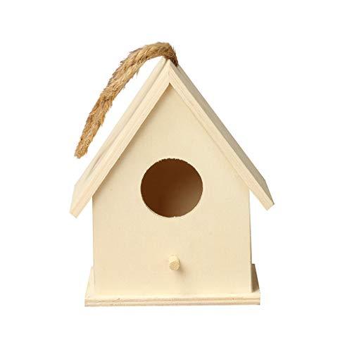 Serria Nichoir pour petits oiseaux avec entrée en forme de Ronde - Maison à oiseaux nichoir perchoir en bois - Tient seul ou peut s'accrocher à un mur pour protéger les oiseaux