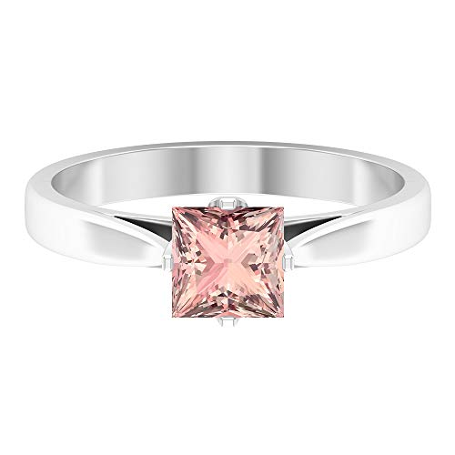 Two Tone Engagement Ring, 5.5 MM Princess Cut Lab Created Morganite Solitaire Ring, Simple Gold Ring, White Gold, Morganite Lab Created, Size:UK T1/2