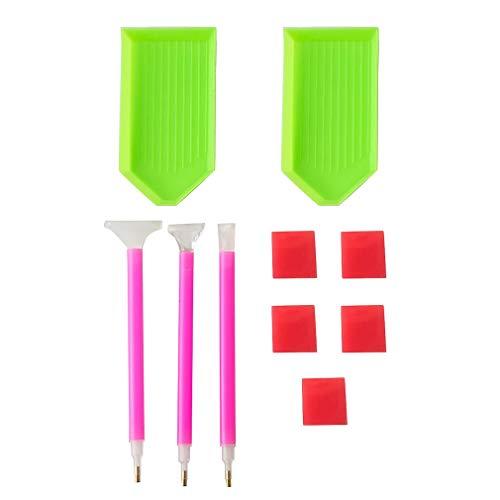 Olddreaming - Accesorios para pintura de diamantes 5D, punto de cruz, juego de herramientas de mosaico, bandeja adhesiva (2 bandejas, 3 bolígrafos, 5 barras)