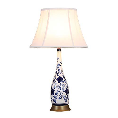 CKH blauw en wit porseleinen vaas keramiek bureaulamp woonkamer antiek bureau tafellamp doek lampenkap knop schakelaar