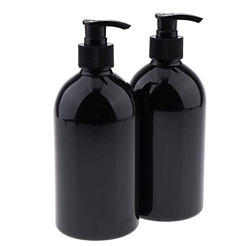 2 x runde 500 ml leere Spenderbehälter, Pumpe, braune Flaschen für Flüssigseife, Shampoo, Körperwäsche, Lotionen, ätherische Öle. Schwarze Pumpe, wie beschrieben, AOD (schwarze Pumpe)