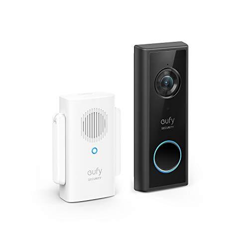 eufy Security Timbre de Puerta con WiFi, Color Negro, resolución de 1080p, batería de 120 días, sin Cargos mensuales, reconocimiento de Personas, función de Audio a Doble Cara, Timbre de Puerta