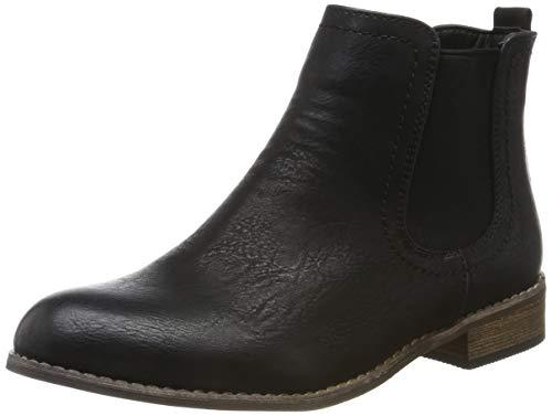 Gefütterte Damen Schuhe Chelsea Boots Kunstleder Stiefeletten 150435 Schwarz Avelar 41 Flandell