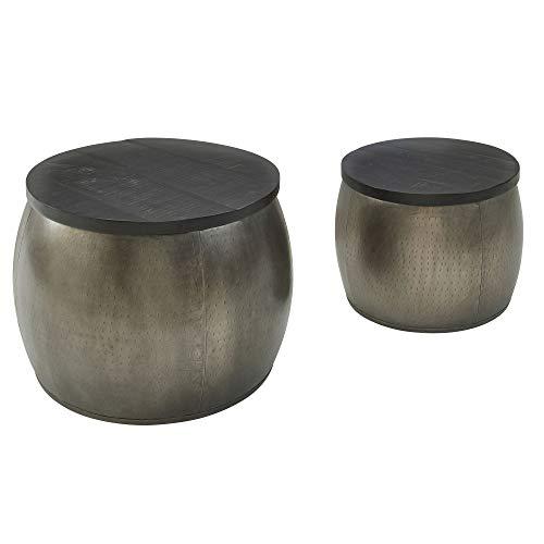 FineBuy Design Couchtisch 2er Set Mango Massivholz Satztisch Rund Silber   Wohnzimmertisch Aluminium Abnehmbarer Deckel   Beistelltisch Modern Metall/Holz 2-teilig mit Stauraum