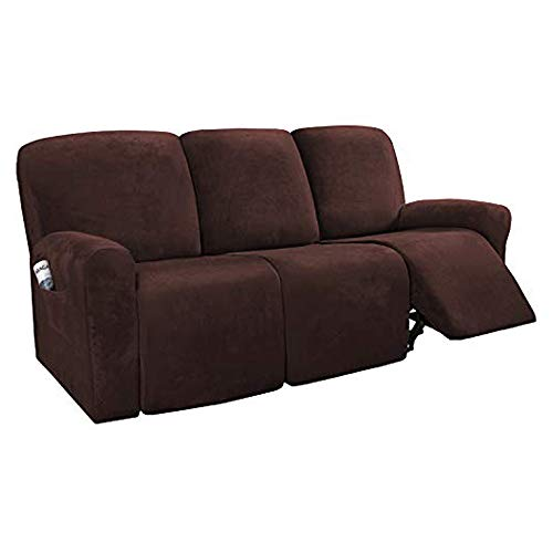 H.VERSAILTEX 8-Pieces Recliner Sofa Covers Velvet Stretch Reclining Couch Covers for 3 Cushion Sofa Slipcovers Furniture Covers Form Fit Customized Style Thick Soft Washable(Large, Brown)