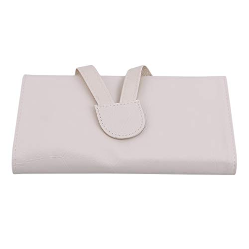 N/A Rlmobes Professionnel Maquillage Brosses Sac en Cuir Voyage 18 Poches Rolling Case Pouch Holder,Beige