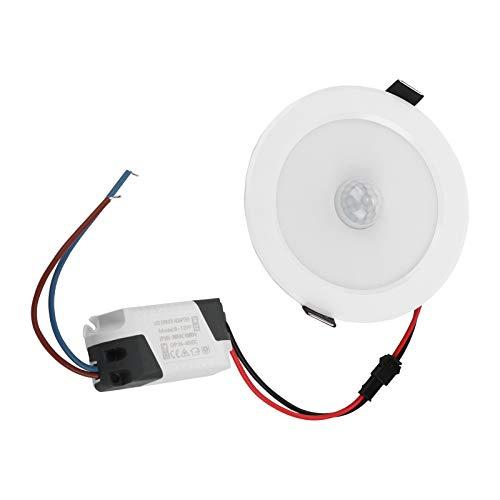 Niiyen Luz empotrada con Sensor infrarrojo LED, luz de Techo empotrada de inducción del Cuerpo Humano Redonda de 9 W, Sensor de Ventana Grande Importado, para Pasarela(luz Blanca Fria)