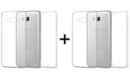 TBOC 2X Funda para Samsung Galaxy J5 [2016] J510 - [Pack: Dos Unidades] Carcasa [Transparente] Completa [Silicona TPU] Doble Cara [360 Grados] Protección Integral Total Delantera Trasera Lateral Móvil