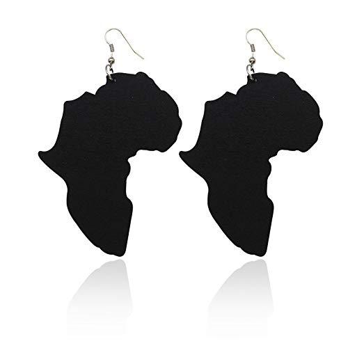 Pendientes de gota de madera de mapa africano tallado con láser cruzado Afro Ankh, joyería de oreja étnica afrocéntrica de Jesús negro para regalos de mujer