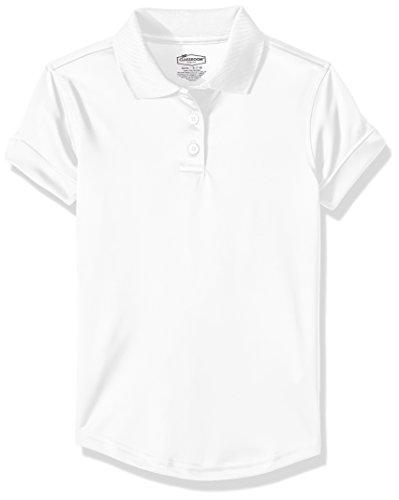 Classroom School Uniforms Big Girls Fit Moisture Wicking Polo, sos White, L