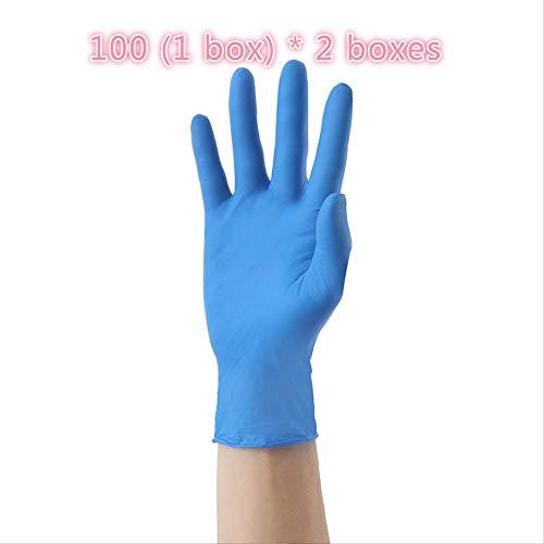 Einweghandschuhe, 100 Stück/Box, 2 Packungen, insgesamt 200 Handschuhe, Einweghandschuhe aus Butyl für den Heimgebrauch, Schutzhandschuhe aus PVC, Handschuhe aus Gummi für Lebensmittel, und Be, L, 1