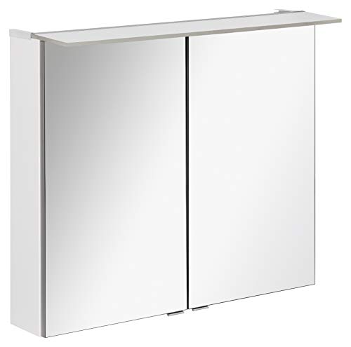 FACKELMANN LED Spiegelschrank B.PERFEKT/Badschrank mit Soft-Close-System/Maße (B x H x T): ca. 80 x 69 x 15 cm/hochwertiger Schrank mit Spiegel und Beleuchtung für das Bad/Korpus: Weiß