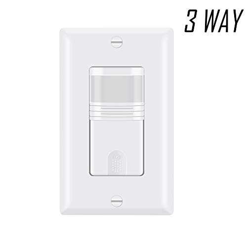 ECOELER 3 Way Motion Sensor Light Switch, Neutral Wire Required, Multi-Dual Sensing Switch for Indoor Use
