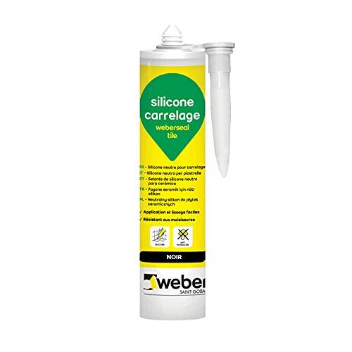 WEBER weberseal tile, 300 ml, Noir, Mastic silicone neutre, résistant aux moisissures