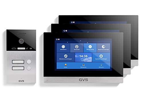 GVS Videoportero IP IP65 con RFID, monitor de 3 x 10 pulgadas, aplicación, cámara HD de 150°, apertura de puertas, memoria de 32 GB, interruptor PoE, juego de 2 casas, AVS4061U