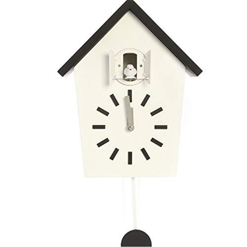 Goodvk Reloj de Cuco Cuco Cuarzo Reloj De Pared Moderno Pájaro Colgante Reloj Relojes De Decoración Casa Sala De Estar Decoración del hogar única (Color : White, Size : 37.5x23x11.4cm)