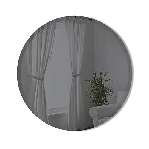 Umbra Hub Bevy Round Wall Mirror for Entryways, Living Rooms and More, 24-Inch, Smoke