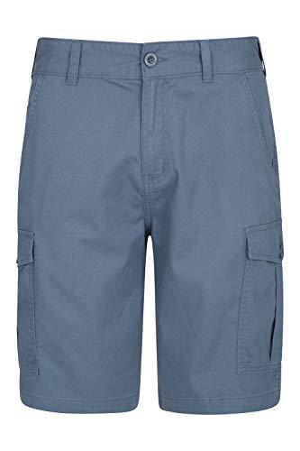 Mountain Warehouse Short Hommes Lakeside - 100% Coton de sergé, Short d'été Durable, 6 Poches - pour Marcher, Courir, randonnée & Camping Bleu 54W