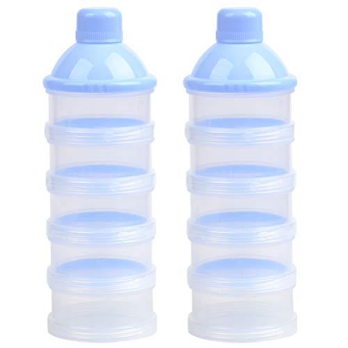 WOWOSS Bote para la Leche en Polvo Apilable con 5 Compartimentos, Bebé Dispensador de Leche en Polvo no Hay Fugas en Polvo, no BPA (Azul)