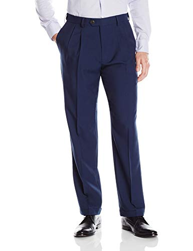 Haggar Men's Eclo Stria Expandable-Waist Plain-Front Dress Pant Blue 36Wx32L