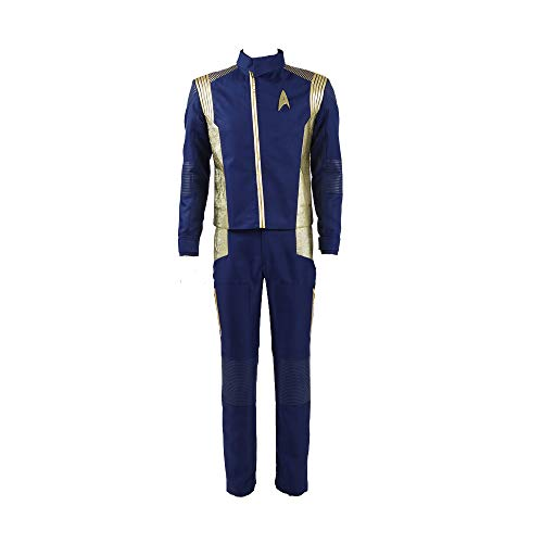 Zhangjianwangluokeji Halloween Raumfahrt Uniform Discovery Commander Cosplay Outfit (Medium, Gold für Männer)