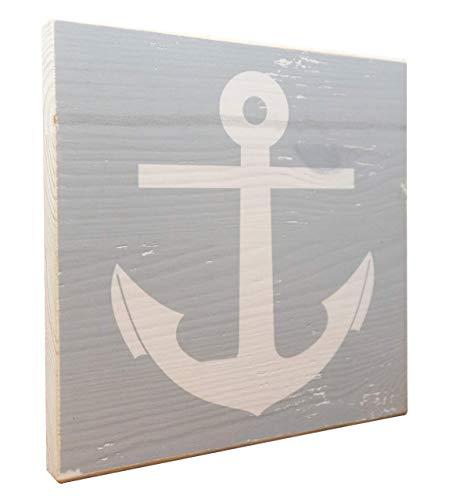 elbPLANKE - Anker Grau | 20x20 cm | Holzbild von Fotoart-Hamburg | 100% Handmade aus Holz (Kiefer/Fichte)