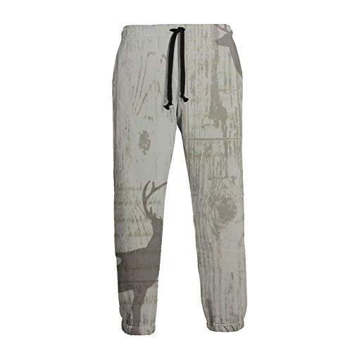Mens Baggy Sweatpants Rustic Deer Cabin Wood Tree Bark Texture Graphic Trousers Jogger Pants Black
