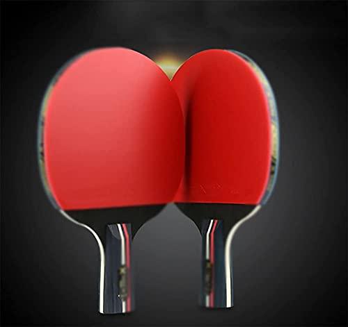 JIANGCJ bajo Precio. Set de Paddle Ping Pong - Juego de Raquetas de Tenis de Mesa Premium 2 paletas de Goma Suave, Raqueta for práctica Training Bat - Raquetas Bundle for la Familia Jugar-a