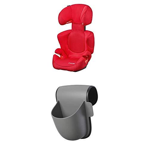Maxi-Cosi Rodi XP Kindersitz, mitwachsender Gruppe 2/3 Autositz (15-36 kg), nutzbar ab 3,5 bis 12 Jahre, poppy red + Maxi-Cosi Pocket Becherhalter, grau