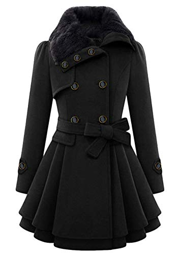 EFOFEI Damen Lange Wollmantel Wintermantel Taillierter Jacke mit Pelzkragen Frauen Trenchcoat mit Gürtel Elegant Schwarz XL