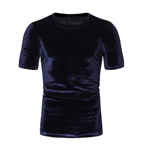 Camiseta de los hombres de verano de manga corta club nocturno Hip Hop Tee Shirt Homme Streetwear, azul marino, XL