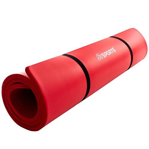 ScSPORTS Gymnastik-/ Yoga-Matte, dick und rutschfest, mit Schultergurt, 190 cm x 80 cm x 1,5 cm, rot