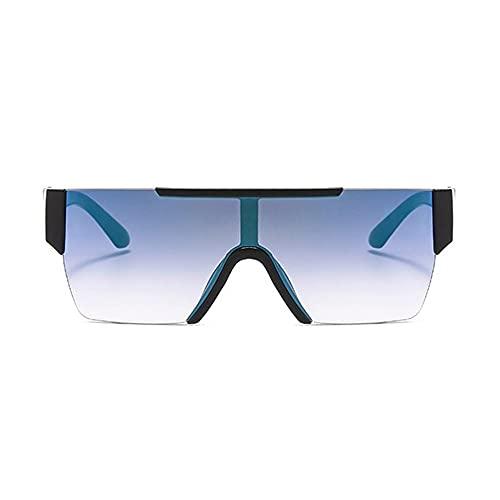 HAIGAFEW Gafas De Sol Cuadradas Sin Montura De Una Lente Gafas De Espejo con Revestimiento para Mujer Gafas De Sol Grandes De Gran Tamaño para Hombres Sombras Uv400 Proteger Los Ojos-Azul Negro