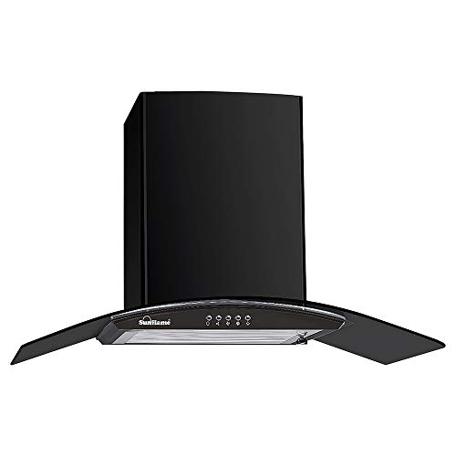 Sunflame 60 cm 1100 m³/hr Curved Glass Kitchen Chimney (BELLA 60 BK, 2 Baffle Filters, Black)