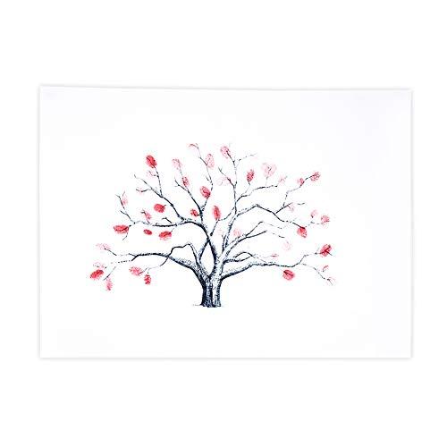 Zerodis DIY Hochzeit Fingerabdruck Baum Leinwand Unterschrift Gästebuch Mit 6 Farben Tinte für Hochzeit Geburtstag Party(HK001)