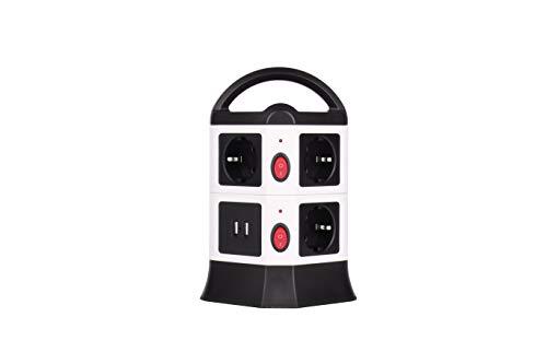 Regleta Enchufe Vertical de 7 Tomas UE y 2 Rapida USB, Cable Alargadora 2m de con Protección y Interruptor para Múltiples Dispositivos, Tower Power Strip para Hogar Oficina 2500W/10A (Negro)