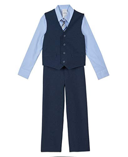 Van Heusen Boys' Toddler 4-Piece Formal Suit Vest Set, Bank Blue, 2T