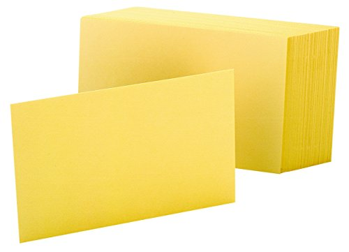 """Oxford Blank Color Index Cards, 4"""" x 6"""", Canary, 100 Per Pack (7420 CAN)"""