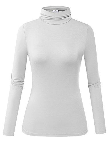 Herou Model Stretchy Fitted Long Sleeve White Mock Turtleneck Tops for Women Medium
