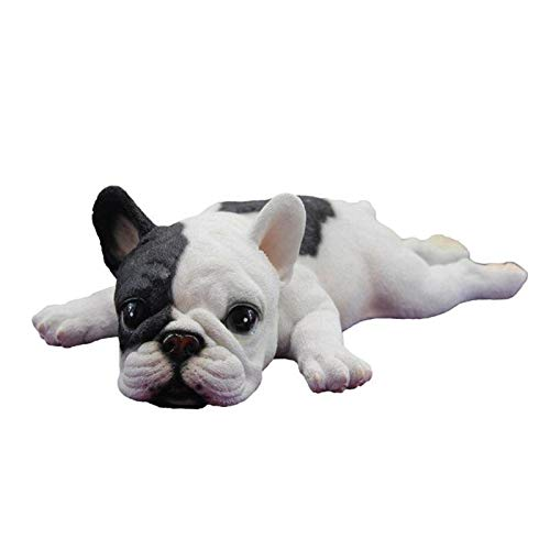 ZSQZJJ Abstract and Creative Desk Decorations Statue,Cute Lying Down Sleeping French Bulldog Puppy Lifelike Figurine Statue Abstract Sculpture