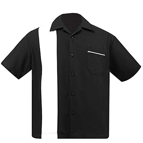 Steady Clothing Black & White Bowling Lounge Shirt Rockabilly Back to 50's 1950s (4XL)