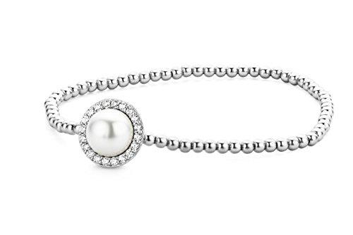 Miore Damen Armreif 925 Sterling Silber Rundschliff Zirkonia Steinchen Süßwasserperle Silberfarbig