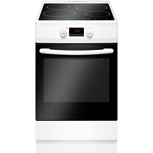 Cuisiniere Induction 50 x60 4 Zones 4 boosters Commandes sensitives 6400W Four électrique Multifonctions 65L Classe A Blanc