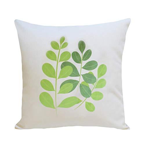Torey 1 funda de cojín decorativa con estampado de hojas tropicales, de felpa muy suave, cuadrada, de alta calidad, con cremallera oculta.