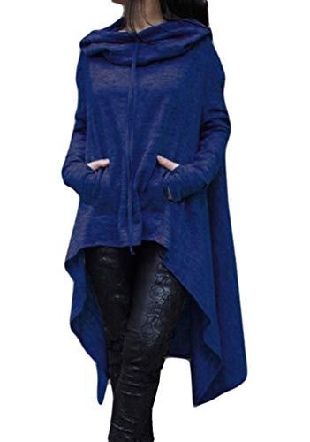 Baijiaye Sudadera Vestido Largas Mujer Sudaderas con Capucha Asimétrico Ocasionales Flojas Pullover Hoodie de Manga Larga Tallas Grandes Azul